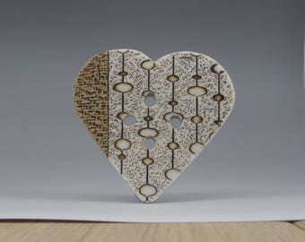 Giant button heart focal piece texture button stoneware and porcelain