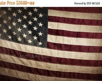 WEEKEND SALE Vintage American Flag , Photo Print, Boys Room decor, Boys Nursery Prints, Wall Art