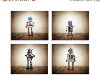FLASH SALE til MIDNIGHT Set of Four Retro Robot Photo Art Prints, Wall Art for Kids Room, Vintage Space Decor, Sci Fi Art