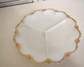 vintage Milk Glass Divided Dish