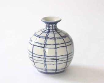 Vintage Blue and White Ceramic Bud Vase