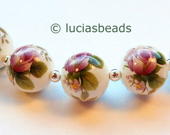 NEW PRETTY Purple Floral Japanese Tensha Beads on White 12 MM (TBPF105)
