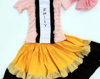 Girl's Pencil twirly skirt and Notebook shirt
