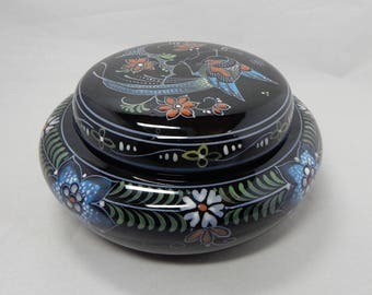 Hand Painted Black DELFT 'De Porceleyne Fles' Covered Vanity Jar or Jewelry Box w/ Bird Design    OBF26