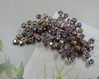 Beau Jewels Floral Spray Brooch w/ Aurora Borealis Rhinestones    ODQ34