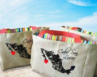 5+ Cabo San Lucas Mexico Country Outline - Destination Custom Wedding Welcome Burlap Tote Bags - Handmade Favors or Bridesmaids Gifts