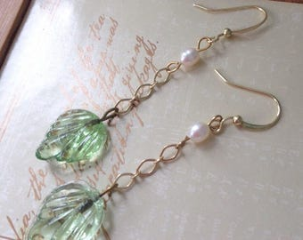 Ethereal green glass leaf with genuine fresh water pearls boho chic long dangle IT Girl dangling Earrings