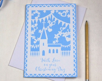 Christening Card, Printed Church Papercut Style Card, With Love on your Christening Day