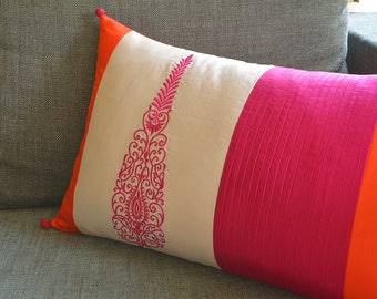Pink and Orange Patchwork Silk Pillow Cover with Embroidery , Color Blocked  Silk Cushion Cover in Pink & Orange , Embroidered Silk Pillow