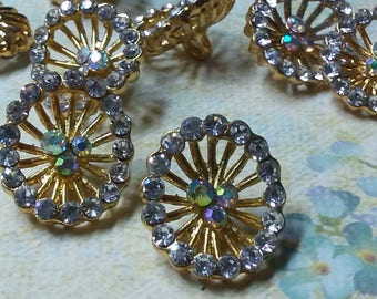 Vintage 18 mm x 20 mm Oval  Gold Metal Rhinestone  Buttons.  10 Pieces.