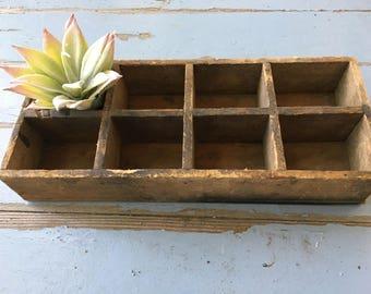 Primitive Wooden Box Divided Vintage Rustic Antique Farmhouse Chic