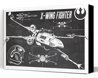 Star Wars Canvas - X-Wing Fighter - Canvas Art Print, Star Wars Art, Star Wars Patent Art, Fan Art, Star Wars Gift, Patent Art