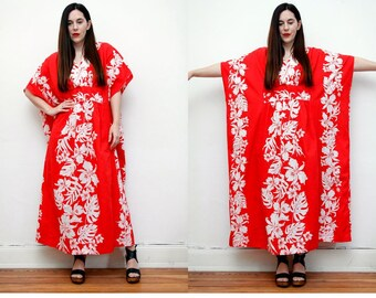 Vintage Floral  Tropical Hawaiian Kaftan Kimono Maxi Dress