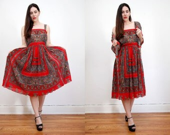 Vintage Paisley Sundress  Hippie Dress Ethnic French Dress 70's
