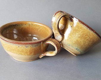 Set of 2 Deep Sides Chowder Bowls Soup Cereal Handles Tan Brown Gold Speckles