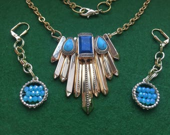 Torquoise and Blue stone embedded Heavy Gold Pendant Necklace set with dangle drop earrings