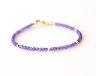 Delicate Amethyst Gemstone Bracelet with Tiny Dot Beads / Sterling Silver / 14K Gold Filled / Rose Gold / Layering Stackable  Bracelet