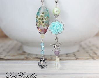 Starfish earrings Blue Floral earrings Blue Asymmetrical earrings Mermaid earrings Seashell earrings Ocean earrings - Starfish