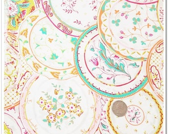 1 yard Waverly Inspiratons sweet floral print, vintage-y looking plates