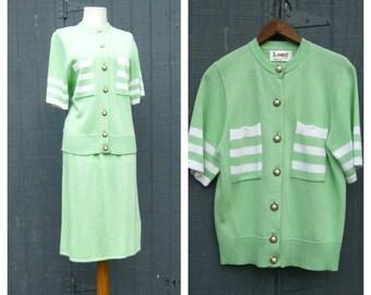 Womens Knit Suit  / Santana Knit Suit Skirt Dress Set Laura Alyzia / Knit Jacket Skirt Set / size 8 / Made USA