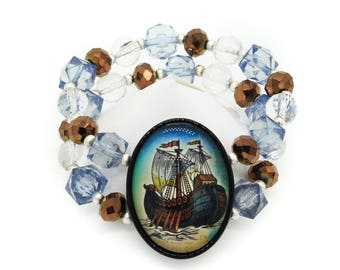 Viking Sailing Ship Crystal Beaded Cameo Bracelet