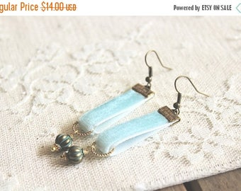 40% OFF SALE Powder blue velvet earrings with patina green lantern bead accent, Old Fashioned Love