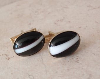 Dark Brown Cufflinks White Stripe Agate Oval Pat Pend Vintage 092515MV
