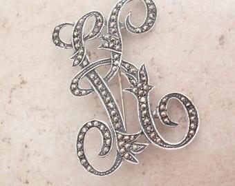 Marcasite Brooch Letter Initial K Large Sterling Silver Vintage V0592