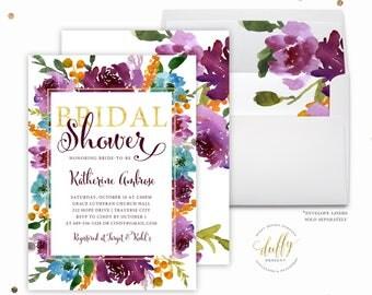 Purple Bridal Shower Invitation, Baby Shower Invitation, Invitations, Floral, Flowers, Greenery, Watercolor, Printable, Personalized, Custom