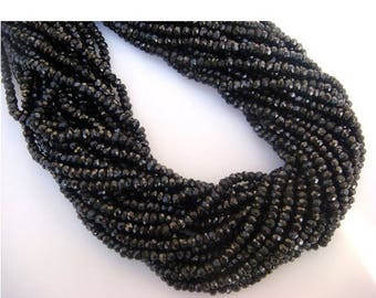 ON SALE 55% Black Spinel Beads, 4mm Beads, Micro Faceted Rondelles, 14 Inch Strand