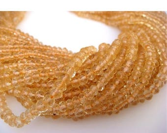 ON SALE 50% Wholesale Citrine Lot - Citrine Micro Faceted Rondelles - 3mm Each - 5 Strands - 13 Inches Each