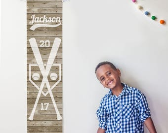 Personalized rustic wood baseball growth chart - boy's room decor, baby shower gift