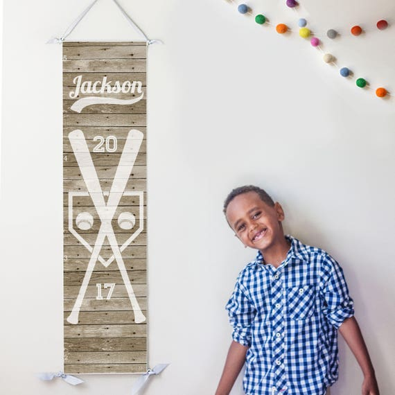 Personalized rustic wood baseball growth chart