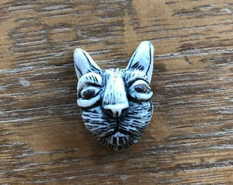 Cat, Cabochon, Porcelain, Cat Head, Cab, Carved, Clay, Handmade, Jewelry Supply, Underglaze, Kitty, Brown eyes