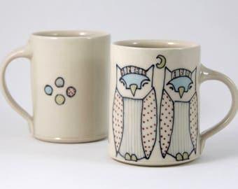 Owl Coffee Mug Handmade Ceramic Mug Owls Illustration Owls Mug Cute Pottery Tea Cup Large Mug Owl Pottery Animal Themed Pottery Cute Gifts