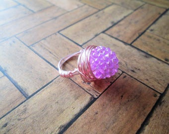 Beaded wire wrap ring, size 7