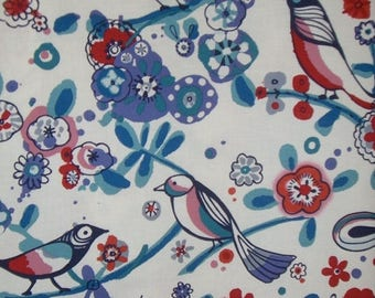 ON SALE SPECIAL--Blue and Red Larkspur Bird Print Fabric by Alexander Henry--One Yard
