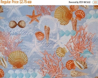 ON SALE REMNANT--Coral and Blue Shell Collage Print Pure Cotton Fabric--17 Inches