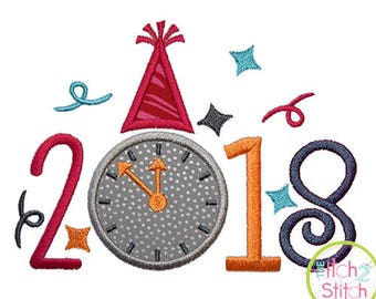 2018 New Year Applique machine embroidery design, INSTANT DOWNLOAD now available