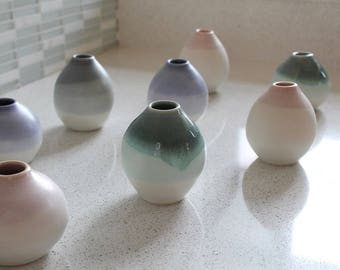 NEW! Pottery Bud Vase - Teal ombre