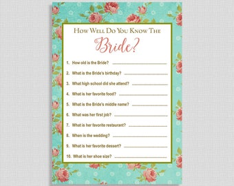 Recipe card navy and coral mums bridal shower printable how well do you know the bride printable game aqua floral bridal shower activity forumfinder Choice Image