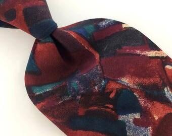 Clubfellow Tie Us Made Red Navy Turquoise Abstract Silk Necktie Ties I6-135  Excellent Vintage Corbata Krawatte Cravatta Cravate