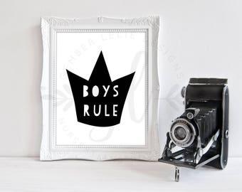 Boys Rule | Nursery Art | Wall Art | Subway Art | Nursery Decor | 5x7 | 8x10 | 11x14 (GL000068)