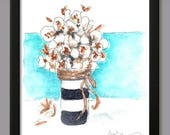 Natural Stems of Cotton Flowers in Vase Southern Watercolor Print Vertical