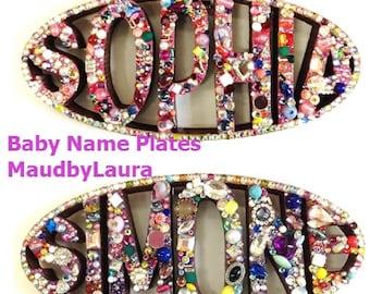 """Baby, Kid, or""""Teen Dorm"""" room CUSTOM bejeweled wood Name Plate"""