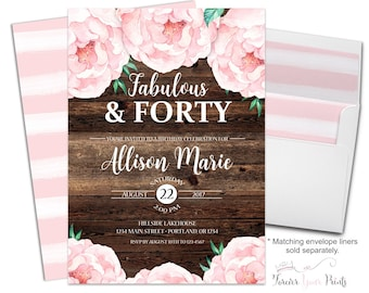 40th Birthday Party Invitation - Floral 40th Birthday Invitation - 40th Birthday Invite - Country Birthday - Boho Birthday - Flowers