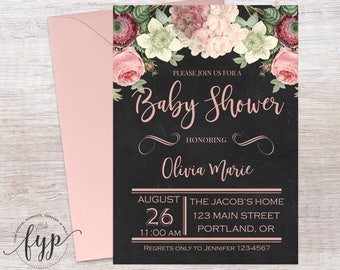 Floral Boho Baby Shower Invitation, Girl Baby Shower Invitation, Floral Baby Shower Invite, Girl Baby Sprinkle, Boho Shower, Boho Invitation