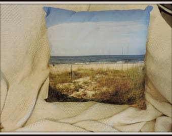 St George Florida pillow, beach throw pillow, beach photo pillow, vacation photo pillow, beach scene pillow, St George Island photo