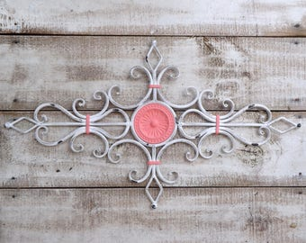Chippy White and Coral  Metal Wall Scroll / Decorative Metal Wall Scroll /Metal Wall Art  / Shabby Chic / Bedroom Wall Decor / Kitchen Wal