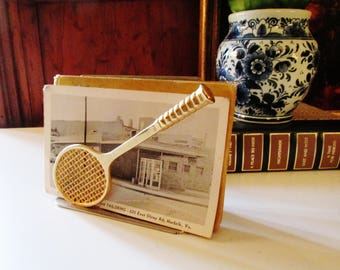 Vintage Tennis Racket Mail Holder, Letter Holder, Gift for Tennis Fan, Home Office Decor